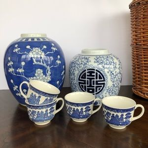 Vintage blue and white cups